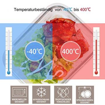 GENICOOK Frischhaltedosen aus Glas inkl. Mini Besteck, Meal prep Boxen Glas, Glasbehälter mit Deckel, Meal Prep Glasschüssel & Gefrierfach geeignet 1050ml *3 - 6