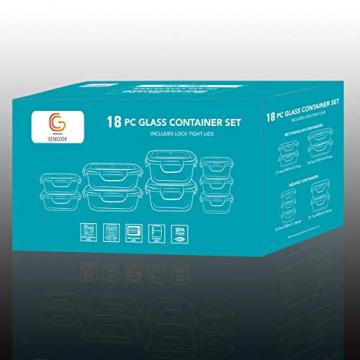 GENICOOK Glas-Frischhaltedose Set 9er,Glas aufbewahrungsbehälter,Glas vorratsdosen mit Deckel für küche,lebensmittelbehälter aus Glas, Meal prep Boxen, BPA-frei-Glasbehälter - 4