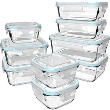 GENICOOK Glas-Frischhaltedose Set 9er,Glas aufbewahrungsbehälter,Glas vorratsdosen mit Deckel für küche,lebensmittelbehälter aus Glas, Meal prep Boxen, BPA-frei-Glasbehälter - 1