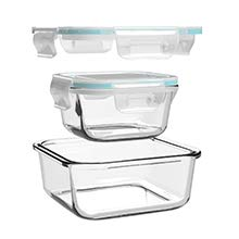 GENICOOK Glas-Frischhaltedose Set 9er,Glas aufbewahrungsbehälter,Glas vorratsdosen mit Deckel für küche,lebensmittelbehälter aus Glas, Meal prep Boxen, BPA-frei-Glasbehälter - 5