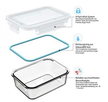 GENICOOK Glas-Frischhaltedose Set 9er,Glas aufbewahrungsbehälter,Glas vorratsdosen mit Deckel für küche,lebensmittelbehälter aus Glas, Meal prep Boxen, BPA-frei-Glasbehälter - 6