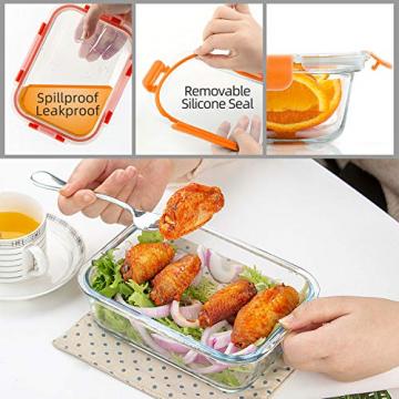Glas-Frischhaltedosen [10 Dosen & 10 Deckel] luftdicht, BPA-Frei, Geeignet für Mikrowelle, Gefrierschrank und Spülmaschine - 2