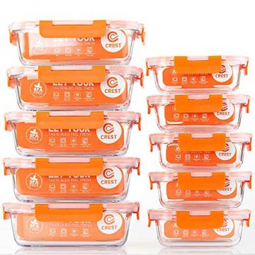 Glas-Frischhaltedosen [10 Dosen & 10 Deckel] luftdicht, BPA-Frei, Geeignet für Mikrowelle, Gefrierschrank und Spülmaschine - 1