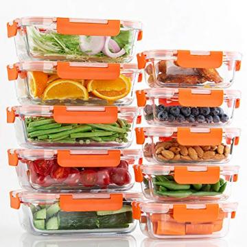 Glas-Frischhaltedosen [10 Dosen & 10 Deckel] luftdicht, BPA-Frei, Geeignet für Mikrowelle, Gefrierschrank und Spülmaschine - 5