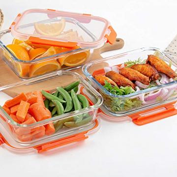 Glas-Frischhaltedosen [10 Dosen & 10 Deckel] luftdicht, BPA-Frei, Geeignet für Mikrowelle, Gefrierschrank und Spülmaschine - 6