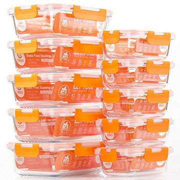 Glas-Frischhaltedosen [10 Dosen & 10 Deckel] luftdicht, BPA-Frei, Geeignet für Mikrowelle, Gefrierschrank und Spülmaschine - 7