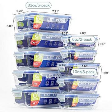 Glas-Frischhaltedosen [10er Set] Vorratsbehälter mit Deckel, Luftdicht, Rechteckig Glas, Geeignet für Mikrowelle, Gefrierschrank und Spülmaschine - 2
