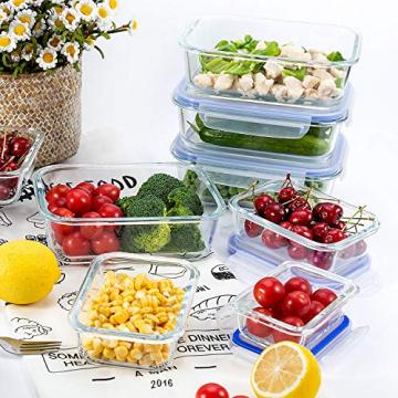 Glas-Frischhaltedosen [10er Set] Vorratsbehälter mit Deckel, Luftdicht, Rechteckig Glas, Geeignet für Mikrowelle, Gefrierschrank und Spülmaschine - 4