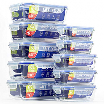Glas-Frischhaltedosen [10er Set] Vorratsbehälter mit Deckel, Luftdicht, Rechteckig Glas, Geeignet für Mikrowelle, Gefrierschrank und Spülmaschine - 1