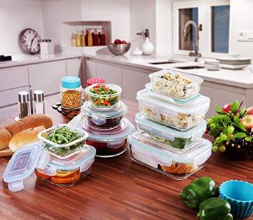 Glas-Frischhaltedosen 18 Stück [9 Behälter + 9 Deckel] - Glasbehälter - Transparente Deckel - BPA frei - für Home Küche oder Restaurant - von KICHLY - 3