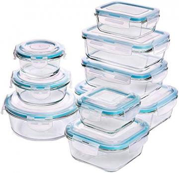Glas-Frischhaltedosen 18 Stück [9 Behälter + 9 Deckel] - Glasbehälter - Transparente Deckel - BPA frei - für Home Küche oder Restaurant - von KICHLY - 1