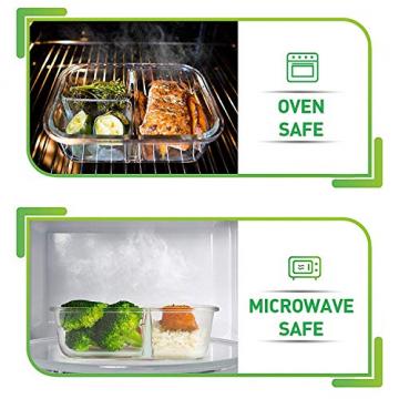 Glas-Frischhaltedosen - 4er Set mit Deckel - Prep Naturals - 1000 ml Behälter - 3 Fächer - Lunchbox-, Bento-, Aufbewahrungsdosen - Mikrowellen-, Ofen- u. Gefrierschrankgeeignet, Spülmaschinenfest - 2