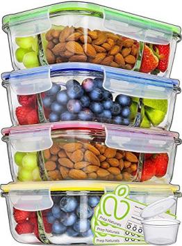 Glas-Frischhaltedosen - 4er Set mit Deckel - Prep Naturals - 1000 ml Behälter - 3 Fächer - Lunchbox-, Bento-, Aufbewahrungsdosen - Mikrowellen-, Ofen- u. Gefrierschrankgeeignet, Spülmaschinenfest - 1