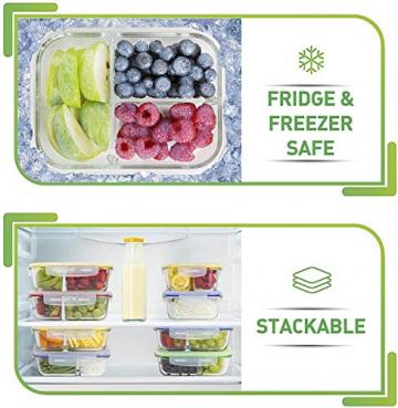 Glas-Frischhaltedosen - 4er Set mit Deckel - Prep Naturals - 1000 ml Behälter - 3 Fächer - Lunchbox-, Bento-, Aufbewahrungsdosen - Mikrowellen-, Ofen- u. Gefrierschrankgeeignet, Spülmaschinenfest - 5