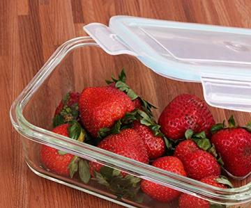 Glas-Frischhaltedosen 6 Stück [3 Behälter + 3 Deckel] - Glasbehälter - Transparente Deckel - BPA frei - FDA-zugelassene Behälter - für Home Küche oder Restaurant von KICHLY - 2