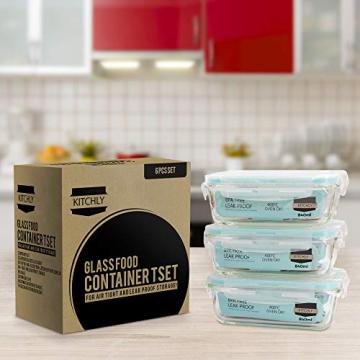 Glas-Frischhaltedosen 6 Stück [3 Behälter + 3 Deckel] - Glasbehälter - Transparente Deckel - BPA frei - FDA-zugelassene Behälter - für Home Küche oder Restaurant von KICHLY - 3
