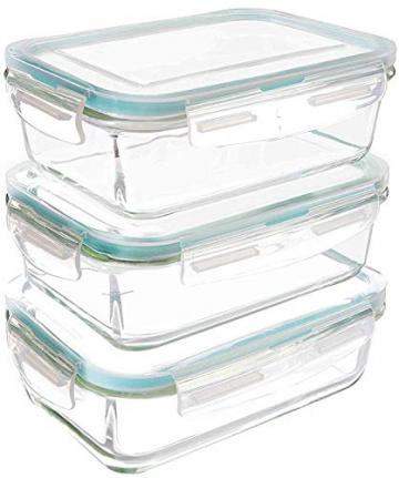 Glas-Frischhaltedosen 6 Stück [3 Behälter + 3 Deckel] - Glasbehälter - Transparente Deckel - BPA frei - FDA-zugelassene Behälter - für Home Küche oder Restaurant von KICHLY - 1