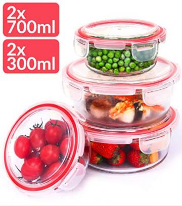 Glas Frischhaltedosen mit Deckel Rund - 4er Set - Luftdicht - Spülmaschinenfest - Borosilikatglas - 1