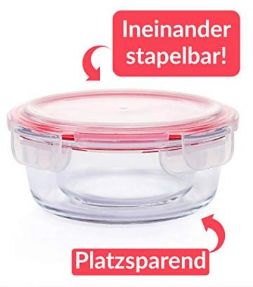 Glas Frischhaltedosen mit Deckel Rund - 4er Set - Luftdicht - Spülmaschinenfest - Borosilikatglas - 6