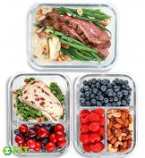 Glas Lebensmittelbehälter mit 1, 2 & 3 Fächern und Deckel [3er Pack, 950ml] - Glasbehälter, Glas Mahlzeit Prep Container, Glas-Lebensmittel-Box, Brotzeitboxen, Lunchbox, Frischhaltedosen Luftdicht - 1