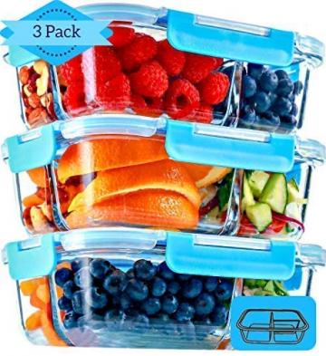 Glas Lebensmittelbehälter mit 3 Fächern und Deckel [3er Pack, 950ml] - Glasbehälter, Glas Mahlzeit Prep Container, Glas-Lebensmittel-Box, Brotzeitboxen, Lunchbox, Frischhaltedosen Luftdicht - 2