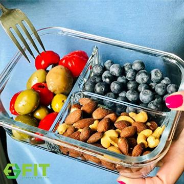Glas Lebensmittelbehälter mit 3 Fächern und Deckel [3er Pack, 950ml] - Glasbehälter, Glas Mahlzeit Prep Container, Glas-Lebensmittel-Box, Brotzeitboxen, Lunchbox, Frischhaltedosen Luftdicht - 3