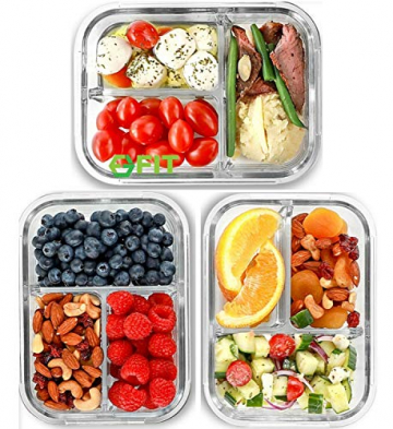 Glas Lebensmittelbehälter mit 3 Fächern und Deckel [3er Pack, 950ml] - Glasbehälter, Glas Mahlzeit Prep Container, Glas-Lebensmittel-Box, Brotzeitboxen, Lunchbox, Frischhaltedosen Luftdicht - 1