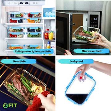 Glas Lebensmittelbehälter mit 3 Fächern und Deckel [3er Pack, 950ml] - Glasbehälter, Glas Mahlzeit Prep Container, Glas-Lebensmittel-Box, Brotzeitboxen, Lunchbox, Frischhaltedosen Luftdicht - 5