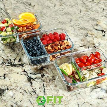 Glas Lebensmittelbehälter mit 3 Fächern und Deckel [3er Pack, 950ml] - Glasbehälter, Glas Mahlzeit Prep Container, Glas-Lebensmittel-Box, Brotzeitboxen, Lunchbox, Frischhaltedosen Luftdicht - 6