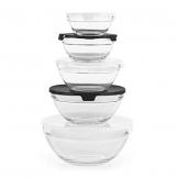 GOURMETmaxx Glasschüssel Set 10-TLG. | Stapelbares Vorratsdosen Glas Set aus 5 Glasschüsseln mit Deckeln (3 weiße + 2 Schwarze Deckel) - 1