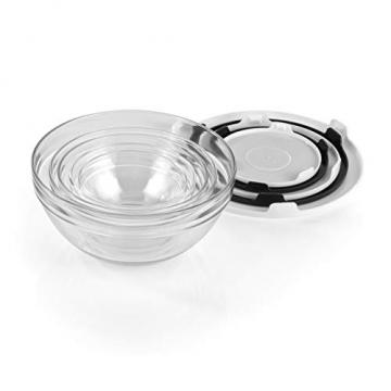 GOURMETmaxx Glasschüssel Set 10-TLG. | Stapelbares Vorratsdosen Glas Set aus 5 Glasschüsseln mit Deckeln (3 weiße + 2 Schwarze Deckel) - 4