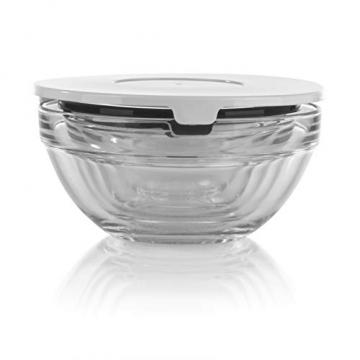 GOURMETmaxx Glasschüssel Set 10-TLG. | Stapelbares Vorratsdosen Glas Set aus 5 Glasschüsseln mit Deckeln (3 weiße + 2 Schwarze Deckel) - 5