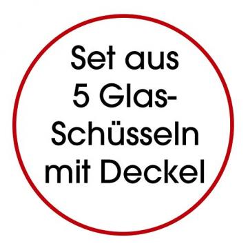 GOURMETmaxx Glasschüssel Set 10-TLG. | Stapelbares Vorratsdosen Glas Set aus 5 Glasschüsseln mit Deckeln (3 weiße + 2 Schwarze Deckel) - 6
