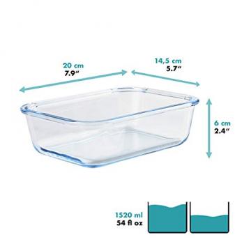 Grizzly Frischhaltedosen Glas 2 Stück Set rechteckig 1520 ml Vorratsdosen mit Deckel - 2