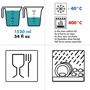 Grizzly Frischhaltedosen Glas 2 Stück Set rechteckig 1520 ml Vorratsdosen mit Deckel - 3