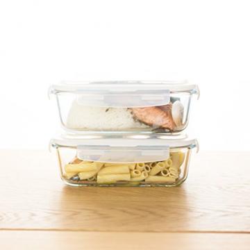 Grizzly Frischhaltedosen Glas 2 Stück Set rechteckig 1520 ml Vorratsdosen mit Deckel - 6