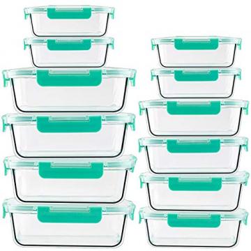 Groß Glas Frischhaltedose [12er Set] Glasbehälter mit Deckel, BPA Frei - 1