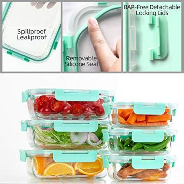 Groß Glas Frischhaltedose [12er Set] Glasbehälter mit Deckel, BPA Frei - 2