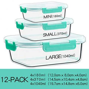 Groß Glas Frischhaltedose [12er Set] Glasbehälter mit Deckel, BPA Frei - 4