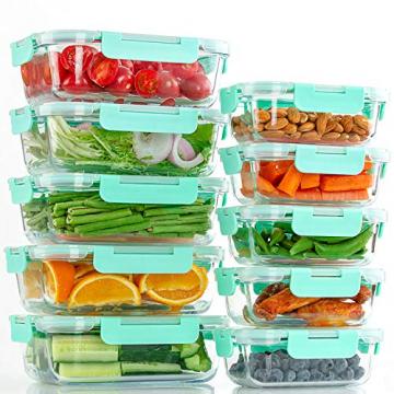 Groß Glas Frischhaltedose [12er Set] Glasbehälter mit Deckel, BPA Frei - 5