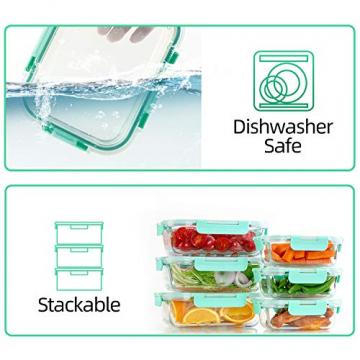 Groß Glas Frischhaltedose [12er Set] Glasbehälter mit Deckel, BPA Frei - 6