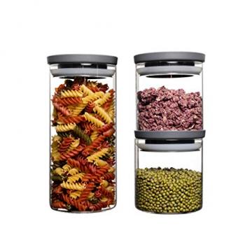 HATTY HAYS Vorratsgläser für die organisierte Küche | stapelbare Vorratsbehälter | robustes Glas | Füllgrad immer im Blick | spülmaschinengeeignet | 2x 0,5l & 1x 1,0l - 1