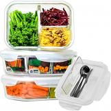 Home Planet Lunchbox Glas 3 Fach | 1050ml 3er Set | 97% weniger Kunststoffverpackungen | Meal Prep Boxen Glas | Mealprepdosen Glas | Meal Prep Glas | Bento Box Glas | Meal Prep Containers Glas - 1