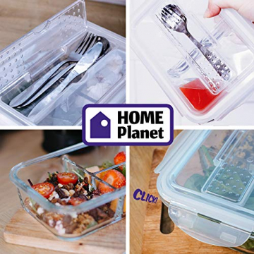 Home Planet Lunchbox Glas 3 Fach | 1050ml 3er Set | 97% weniger Kunststoffverpackungen | Meal Prep Boxen Glas | Mealprepdosen Glas | Meal Prep Glas | Bento Box Glas | Meal Prep Containers Glas - 3