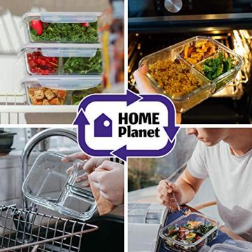 Home Planet Lunchbox Glas 3 Fach | 1050ml 3er Set | 97% weniger Kunststoffverpackungen | Meal Prep Boxen Glas | Mealprepdosen Glas | Meal Prep Glas | Bento Box Glas | Meal Prep Containers Glas - 4