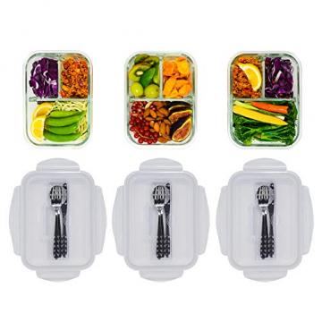 Home Planet Lunchbox Glas 3 Fach | 1050ml 3er Set | 97% weniger Kunststoffverpackungen | Meal Prep Boxen Glas | Mealprepdosen Glas | Meal Prep Glas | Bento Box Glas | Meal Prep Containers Glas - 5