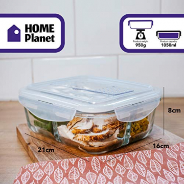 Home Planet Lunchbox Glas 3 Fach | 1050ml 3er Set | 97% weniger Kunststoffverpackungen | Meal Prep Boxen Glas | Mealprepdosen Glas | Meal Prep Glas | Bento Box Glas | Meal Prep Containers Glas - 7