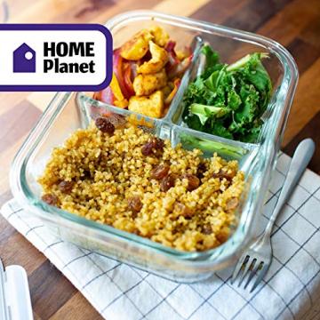 Home Planet Lunchbox Glas 3 Fach | 1050ml 3er Set | 97% weniger Kunststoffverpackungen | Meal Prep Boxen Glas | Mealprepdosen Glas | Meal Prep Glas | Bento Box Glas | Meal Prep Containers Glas - 9