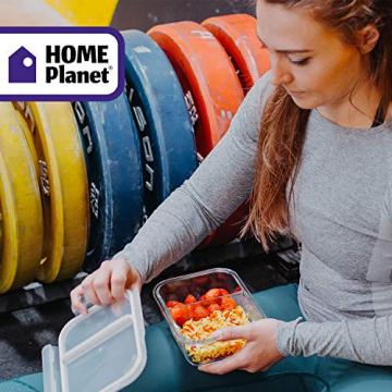 Home Planet Meal Prep Boxen Glas 2 Fach   1050ml 3er Set   97% weniger Kunststoffverpackungen   Mealprepdosen Glas   Meal Prep Glas   Lunchbox Glas   Bento Box Glas   Meal Prep Containers Glas - 3