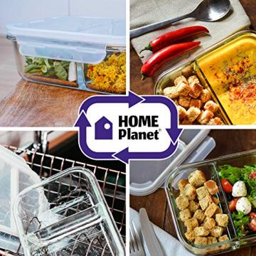 Home Planet Meal Prep Boxen Glas 2 Fach   1050ml 3er Set   97% weniger Kunststoffverpackungen   Mealprepdosen Glas   Meal Prep Glas   Lunchbox Glas   Bento Box Glas   Meal Prep Containers Glas - 4